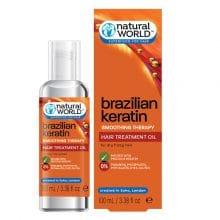 سرم موی نچرال ورلد انگلیسی اصل | تقویتی و ترمیمی و صاف کننده کراتینه برزیلی ۱۰۰ میل