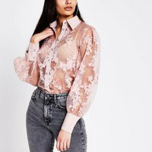 برند River Island مدل Light pink floral organza sheer shirt