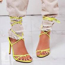 کفش ROCHELLE برند Ego مدل Rochelle Lace Up Barely There Heel In White Faux Leather
