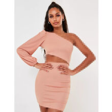 برند Missguided  مدل pink balloon sleeve cut out one shoulder mini dress