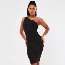 برند Missguided  مدل black slinky ruched one shoulder midi dress