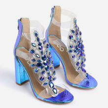 کفش Tatum Jewel برند Ego مدل Tatum Jewel Embellished Block Heel In Blue Holographic Snake Print Faux Leather