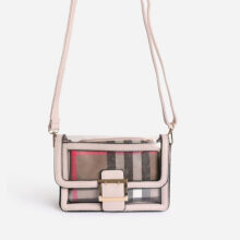 کیف Ego in BURBERRY patern برند Ego مدل  Check Print Detail Perspex Cross Body Bag in Grey Faux Leather