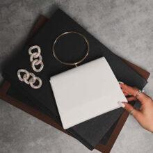 کیف Ego wrist bag برند Ego مدل Hoop Wrist Handle Box Bag In White Faux Leather
