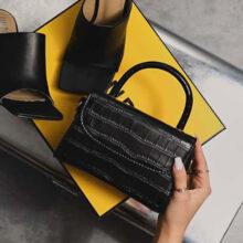 کیف Ego boxy single Handle tote bag برند Ego مدل Boxy Single Handle Tote Bag In Black Croc Print Patent