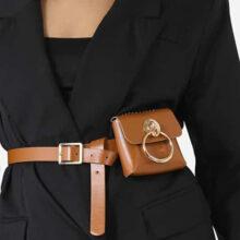 کیف Ego Hoop bag برند Ego مدل Hoop Detail Mini Bag In Tan Faux Leather
