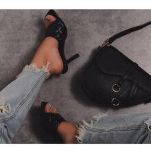 کیف EGO CURVED SADDLE BAG برند Ego مدل Curved Cross Body Saddle Bag In Black Faux Leather