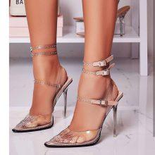 کفش MARGARITA برند Ego مدل Margarita Diamante Details Clear Perspex Heel In Nude Patent
