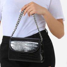 کیف Silver برند Ego مدل Silver Chain Detail Boxy Handbag In Black Croc Faux Leather