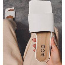 کفش covergirl برندEgo مدل Covergirl Square Toe Flat Slider Sandal In White Faux Leather