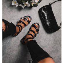 کفش Oscar برندEgo مدل Oscar Buckle Detail Flat Gladiator Sandal In Black Croc Print Faux Leather