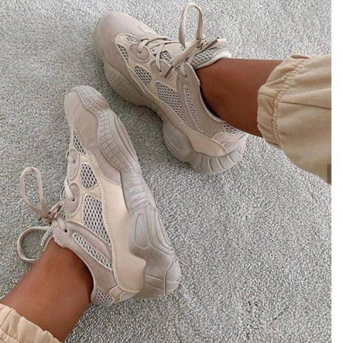 کفش Yara برندLuxe to kill مدل Yara Chunky Lace Up Trainers In Beige Vegan Suede