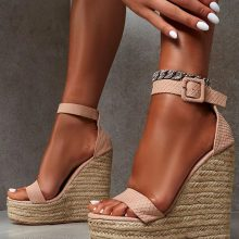 کفش Amalie برند Public desire مدل AMALIE NUDE ESPADRILLE WEDGE HEELED SANDALS