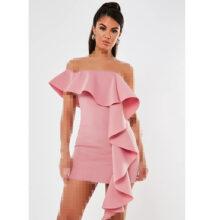برند Missguided  مدل scuba bardot ruffle mini dress