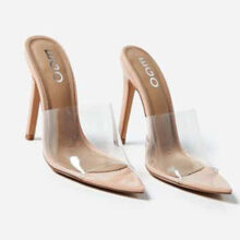 صندل Kilo Peep برند Ego مدل Kilo Peep Toe Perspex Clear Heel Mule In Nude Patent