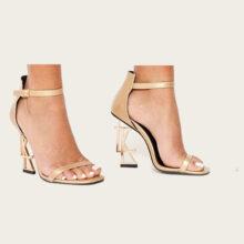 کفش LTK GOLD برندLuxe to kill مدل Ltk Gold Logo Strappy Heels In Gold Metallic
