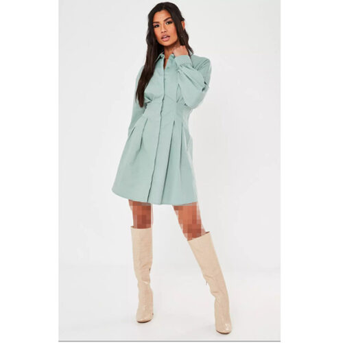 برند Missguided مدل poplin pleated waist shirt dress