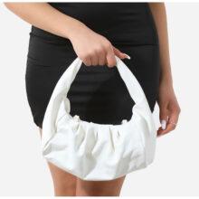 کیف Ruched برند Ego مدل Ruched Shoulder Bag In White Faux Leather