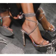 کفش Carmella Glitter برند Ego مدل Carmella Glitter Sole Diamante Detail Lace Up Heel In Silver Holographic Faux Leather