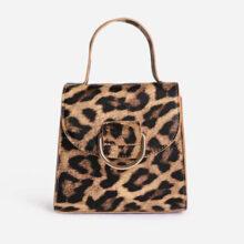 کیف EGO LEOPARD GRAB BAG برند Ego مدل Hoop Detail Grab Bag In Leopard Print Faux Leather