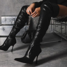 پوتین زنانه MELBA برند Ego مدلMelba Curved Heel Over The Knee Thigh High Long Sock Boot In Black Faux Leather