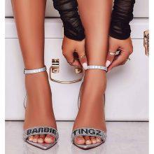 کفش cosmic برند Ego مدل Smash Barbie Tingz Diamante Detail Heel In Silver Faux Leather