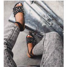 کفش Hipster برند Ego مدل Hipster Studded Detail Flat Gladiator Sandal In Black Faux Leather