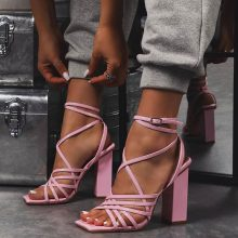 کفش Dancer برند Ego مدل Dancer Square Toe Strappy Block Heel In Pink Patent