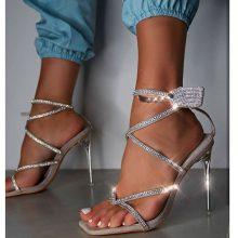 کفش kisses Diamante برند Public desire مدل KISSES GREY DIAMANTE PERSPEX STILETTO HIGH HEELS