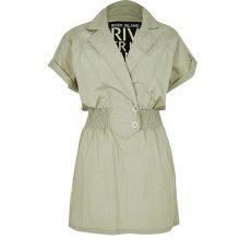 برند River Island مدل Green shirred waist mini dress