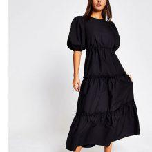 برند River Island مدل Black cross tie back midi smock dress