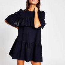 برند River Island مدل Navy broderie frill smock T-shirt dress