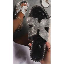 کفش Faux Leather برند Ego مدل Sun Diamante Detail Flat Sandal In Black Faux Leather