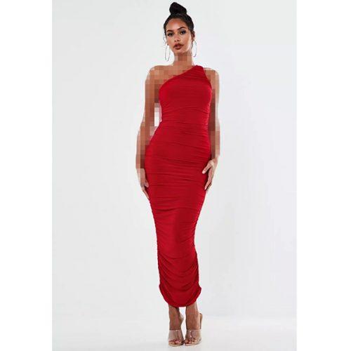 برند Missguided مدل red one shoulder ruched midi dress