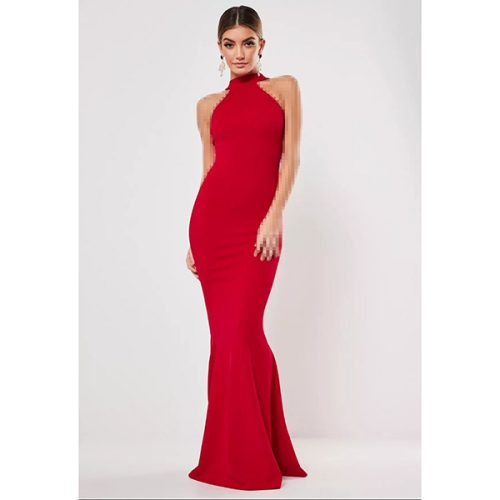 برند Missguided مدل red high neck maxi dress
