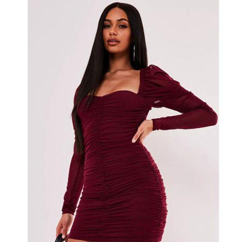 برند Missguided مدل blush mesh ruched mini dress