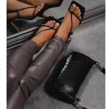 کیف EGO GRAFFITI BAG برند Ego مدل Baguette Bag In Black Croc Print Faux Leather