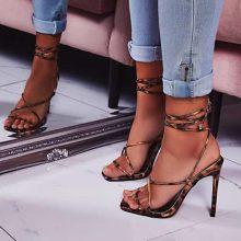 کفش PARIS برند Ego مدل Paris Square Toe Lace Up Heel In Tan Leopard Print Patent