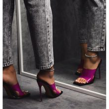 کفش River برندEgo مدل River Pink Clear Perspex Square Peep Toe Heel Mule In Black Faux Leather