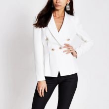 برند River Island مدل White double breasted pleated waist blazer