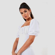 برند Missguided  مدل white scuba crepe ruched milkmaid mini dress
