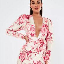 برند Missguided  مدل white floral satin plunge mini dress