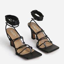کفش Trixie برند Trixie Square Toe Lace Up Kitten Heel In Black Faux Leather