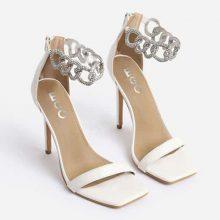 کفش Barbie برندEgo مدل Barbie Diamante Chain Detail Square Toe Heel In White Faux Leather