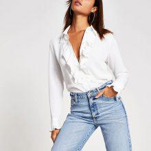 برند River Island مدل Cream frill front long sleeve shirt