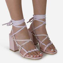 کفش ERZI برند Ego Erzi Square Toe Lace Up Block Heel In Pink Faux Leather