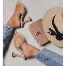 کفش Marilyn برندEgo مدل Marilyn Faux Feather Pointed Toe Pyramid Heel Mule In Nude Faux Suede