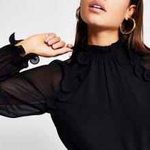 برند River Island مدل Black wire frill long sleeve sheer blouse
