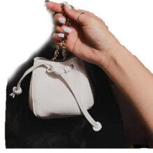کیف EGO BUKET BAG برند Ego مدل Mini Crossbody Bucket Bag In White Croc Print Faux Leather