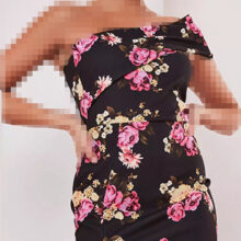برند Missguided  مدل black floral one shoulder midi dress